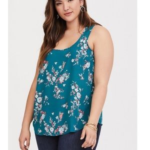 TORRID TURQUOISE FLORAL GEORGETTE TANK NWT